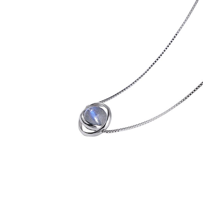 守运原创 星球纯银项链 月光石草莓晶