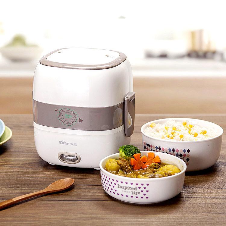小熊电热饭盒双层陶瓷迷你保温饭盒可插电加热蒸煮饭盒蒸饭热饭器