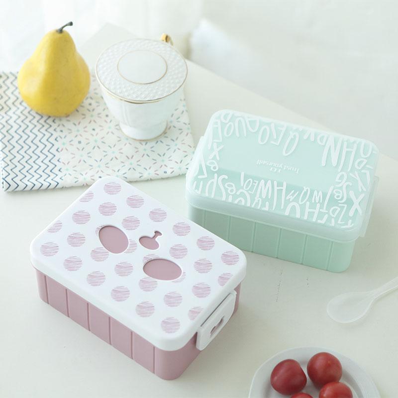 简约创意单层饭盒便当盒可爱学生带盖长方形韩国成人食堂分隔餐盒
