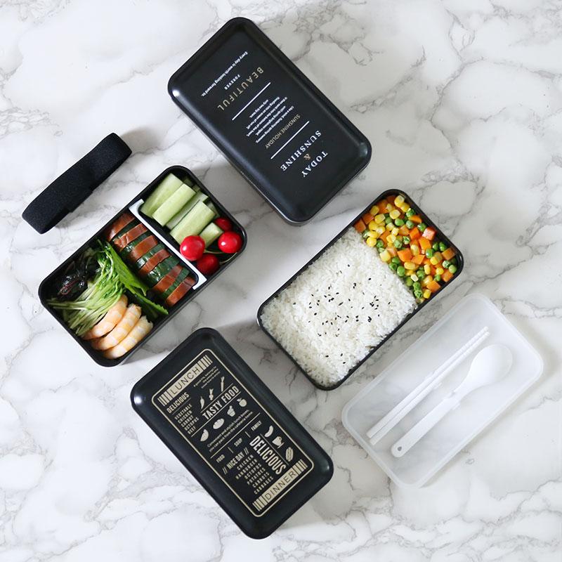安素日式简约便当盒可微波炉双层分隔饭盒北欧上班饭盒送筷勺餐具