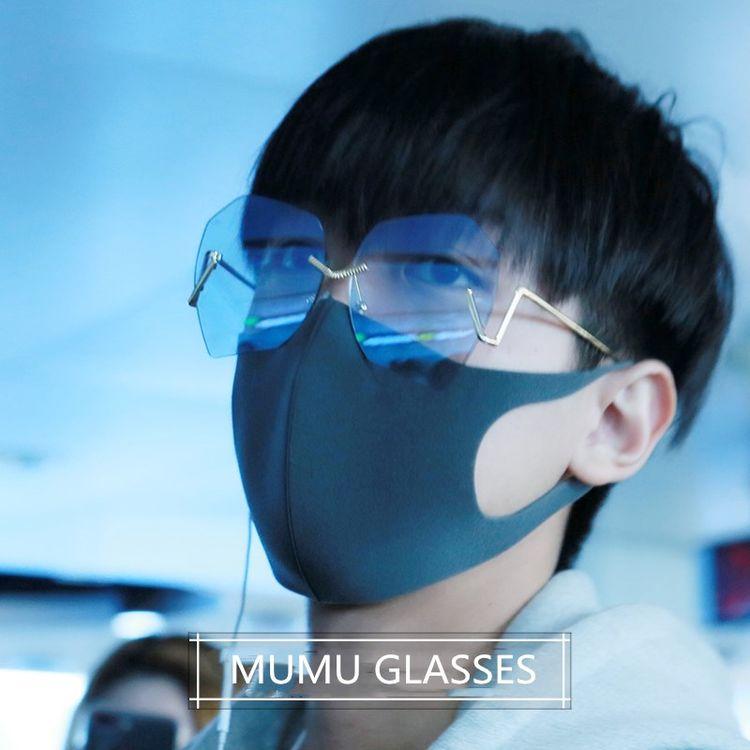孟子坤机场街拍同款无框不规则多边形太阳镜个性潮人大框墨镜男女