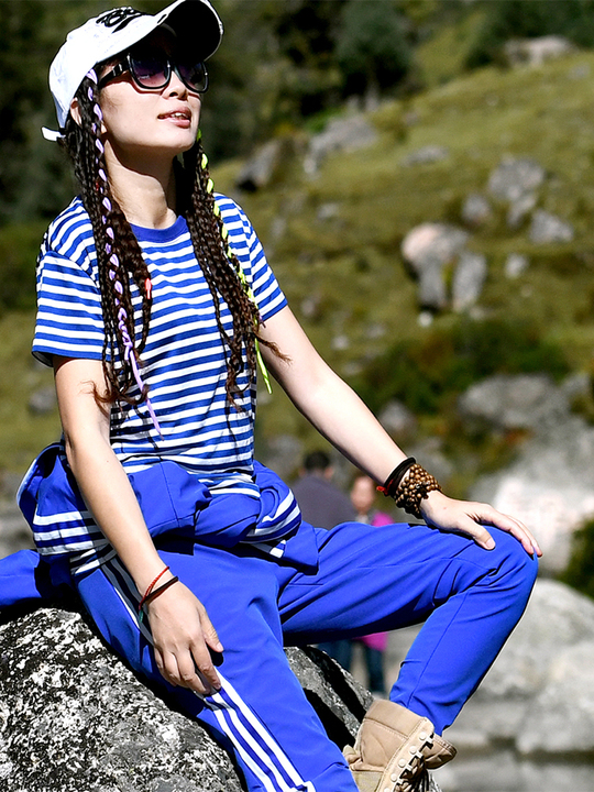 北京森林户外弹力修身快干衣蓝白条纹速干透气短袖海魂衫男女款