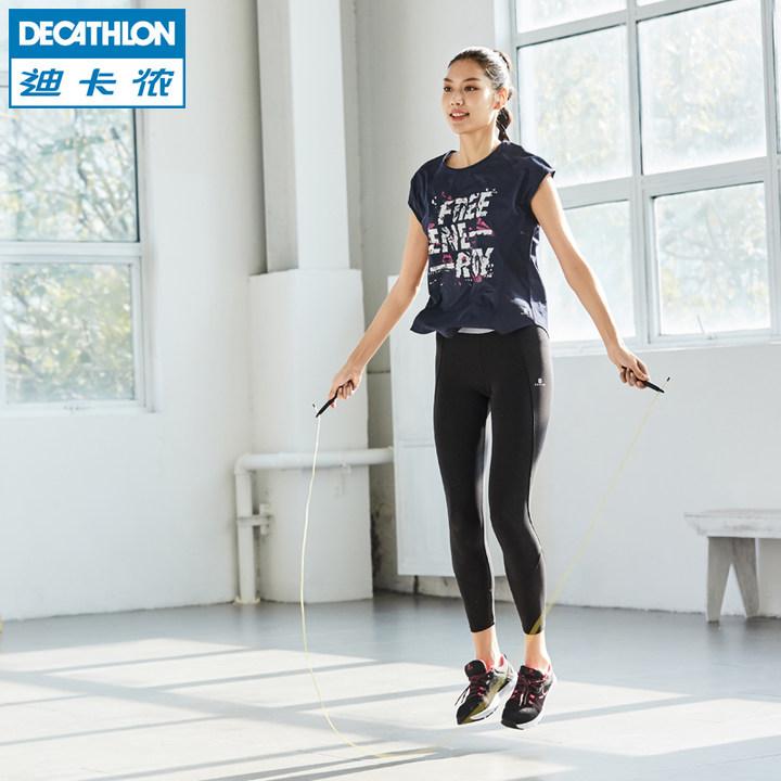 迪卡侬运动T恤女健身跑步速干宽松百搭修身短袖上衣FIC WE