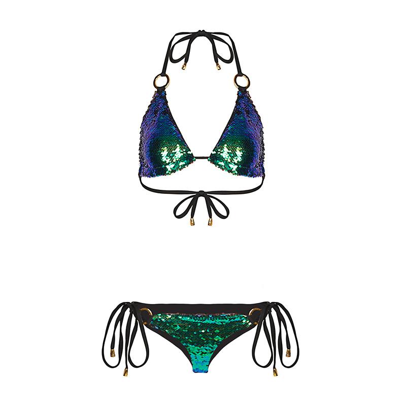 谜思特海洋 新款渐变性感海边三点式沙滩度假比基尼女珠片游 泳衣