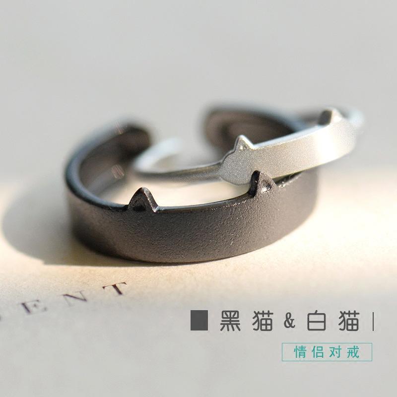 花芽原创黑猫白猫情侣对戒925纯银一对日韩男女个性开口戒指简约