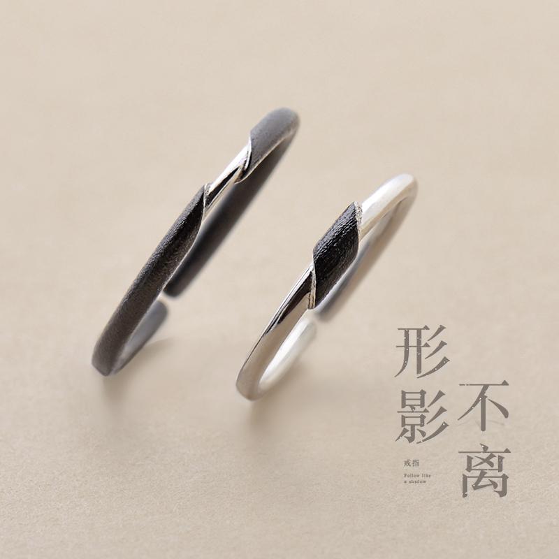 花芽原创形影不离情侣戒指一对纯银简约日韩潮人学生食指指环尾戒