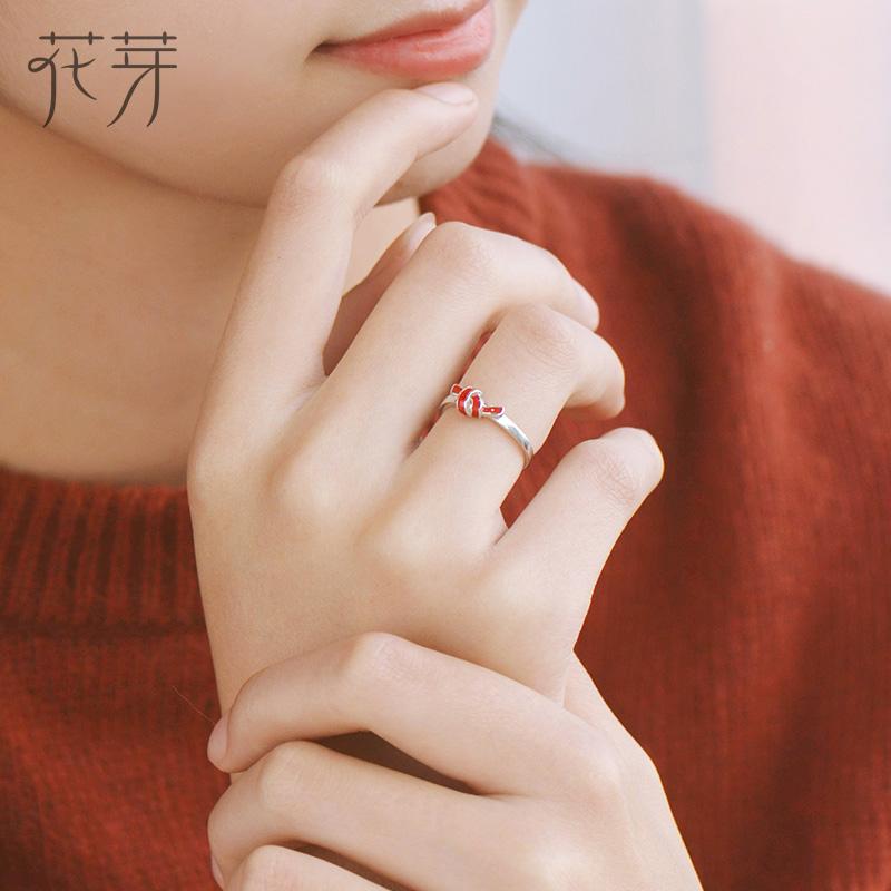 花芽原创设计情人结对戒纯银日韩活口简约情侣戒指一对送女友礼物