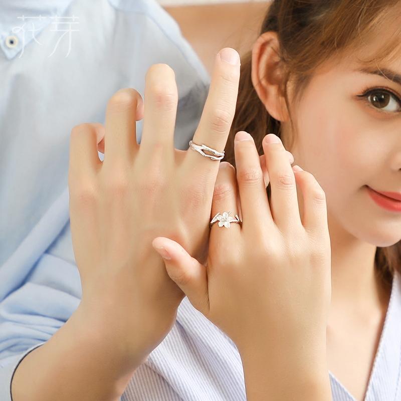花芽原创设计雪樱花情侣戒指一对纯银简约日韩潮人学生开口对戒