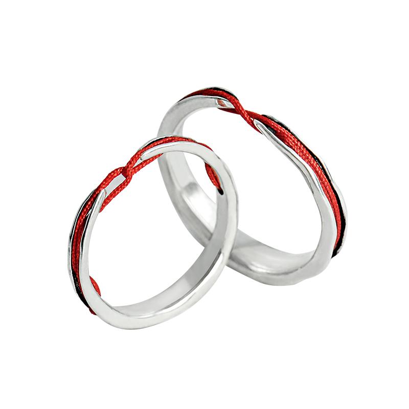 花芽原创命运的红线情侣对戒纯银戒指一对日韩开口潮人创意礼物