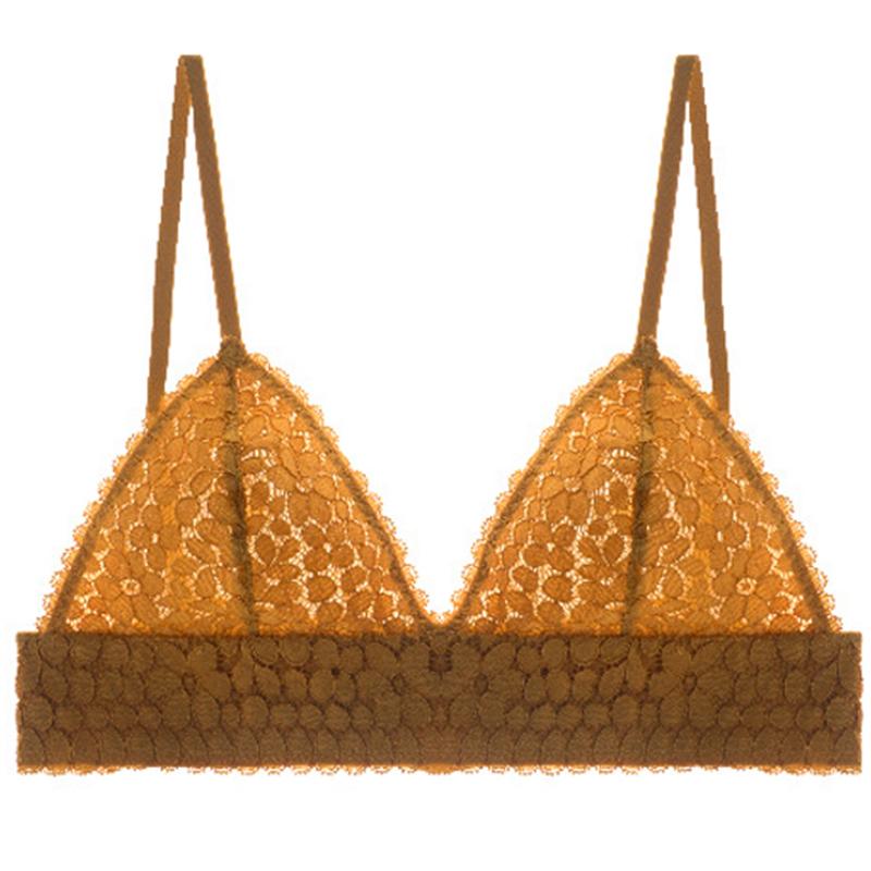 加妮顿法式bralette 无钢圈性感浪漫 薄款蕾丝内衣女三角杯文胸