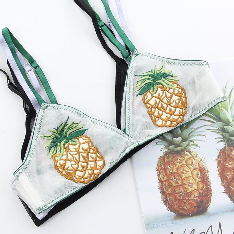 夏季菠萝花朵网纱刺绣不凸点超薄款bralette无钢圈三角杯文胸内衣