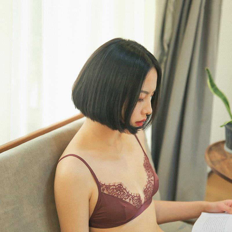 贴身日记性感睫毛蕾丝超薄无钢圈无海绵文胸内衣女夏薄款Bralette