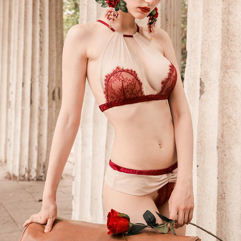 BOTHYOUNG无钢圈美背性感蕾丝胸罩超薄款文胸内衣套装女bralette