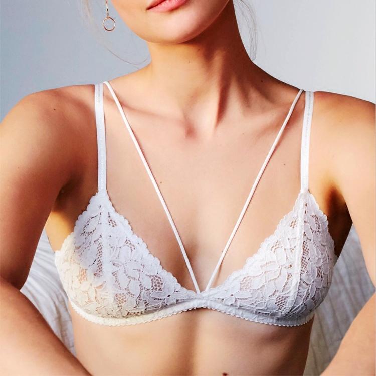 SL小胸性感 碎花蕾丝舒适内衣女 超薄透明无钢圈细带bralette文胸