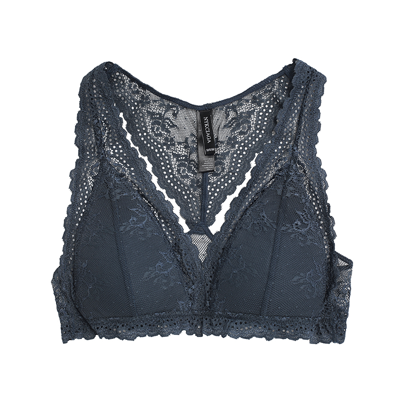 1维拉美背薄棉防凸点透气蕾丝背心式文胸bralette 舒适不聚拢