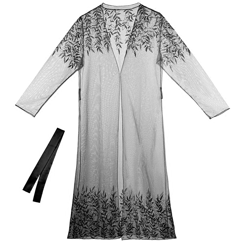 刺绣睡袍女夏黑色蕾丝网纱透视薄性感家居服浴袍式睡衣情趣内衣