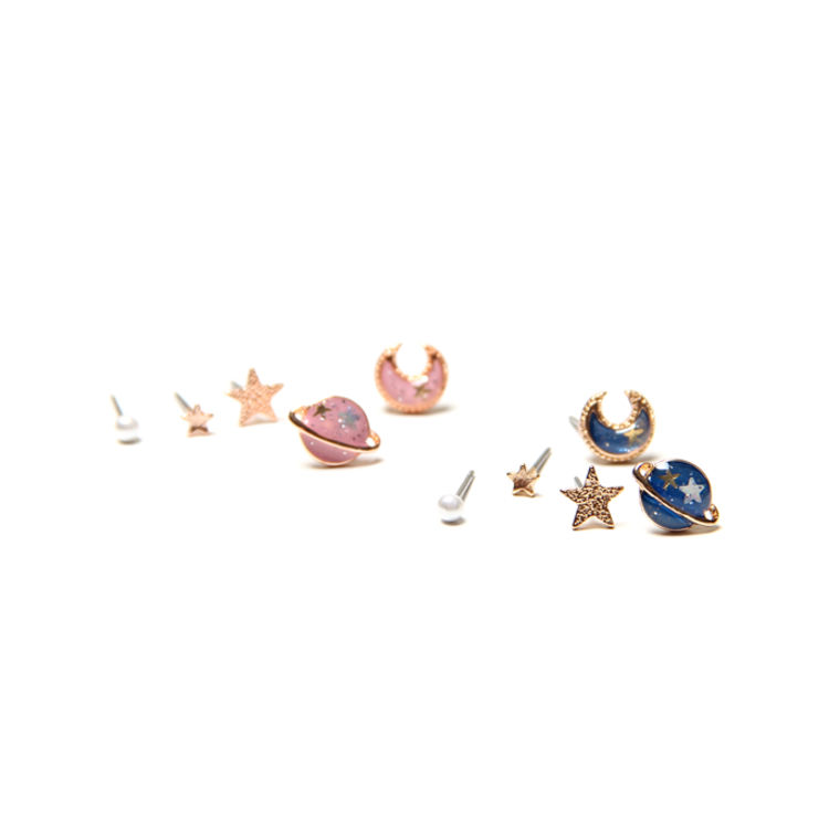 【SUMMERSHOP】包邮日本原宿少女心星球五角星超可爱Q版耳钉耳夹