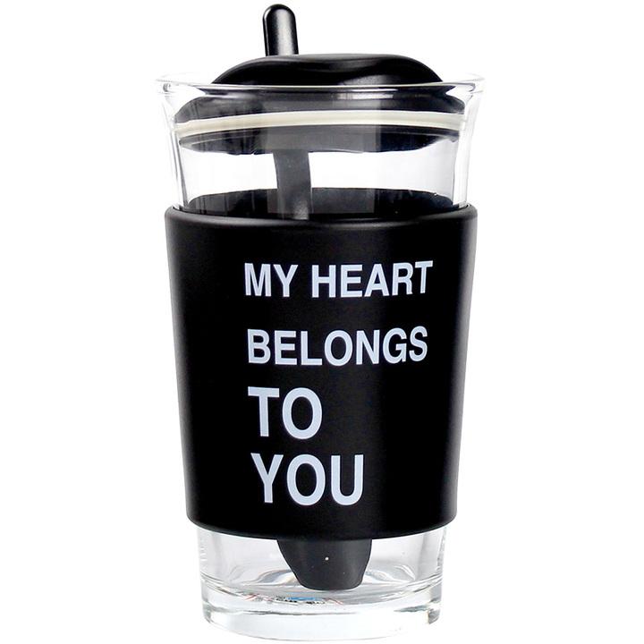 简约带杯套玻璃杯
