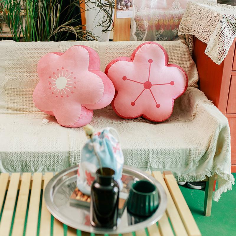 carihome原创 公主风粉色樱花抱枕
