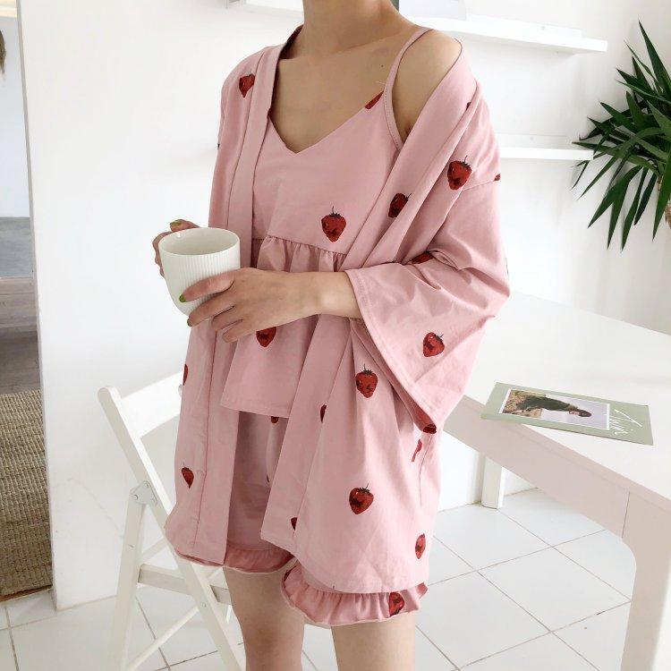 夏季女装韩版甜美草莓五分袖浴袍+吊带睡衣+短裤三件套家居服套装