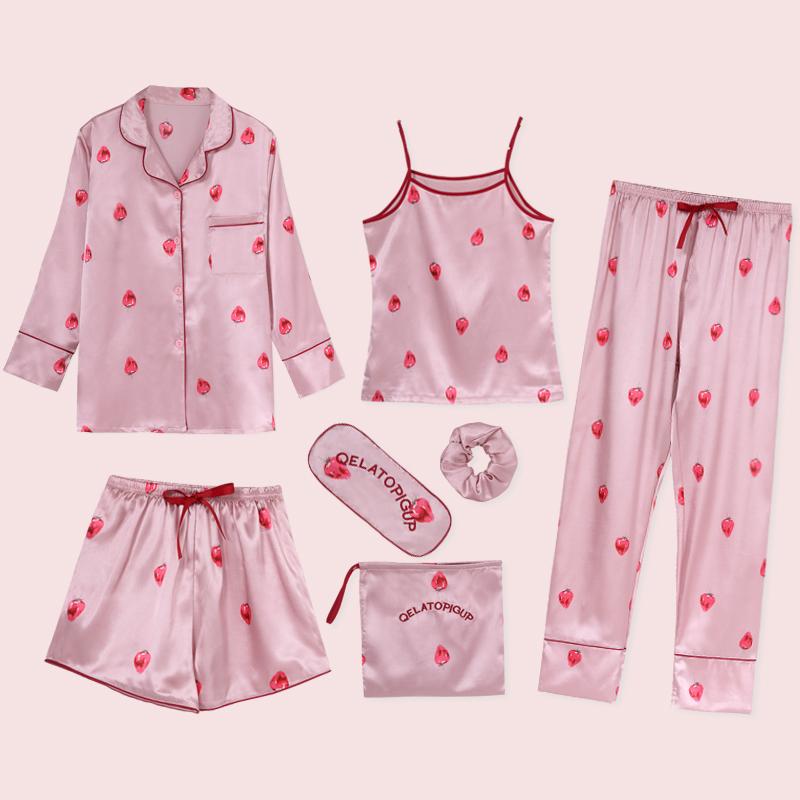 睡衣女夏长袖冰丝草莓七件套夏天吊带套装短袖薄款仿真丝绸家居服