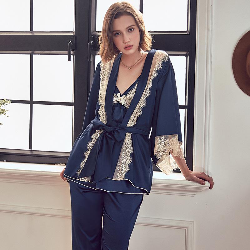 佩莎缇性感睡衣女夏冰丝和服睡袍丝绸薄款家居服吊带蕾丝三件套装