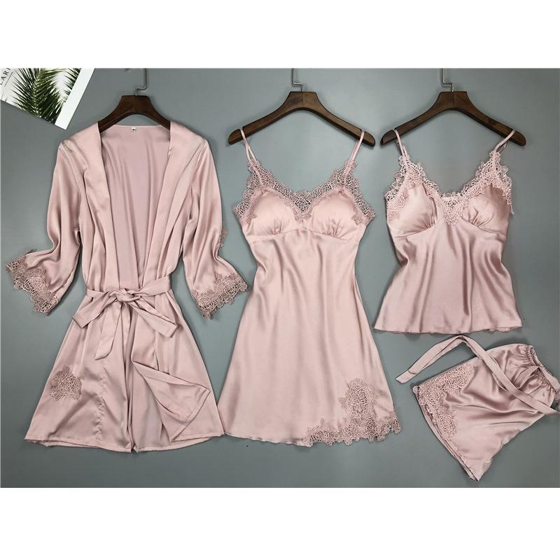 睡衣女夏四件套装冰丝性感吊带睡裙带胸垫女士情调真丝睡袍家居服