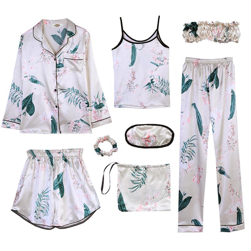 睡衣女夏冰丝七件套装春秋薄款长袖仿真丝绸家居服性感八色款印花