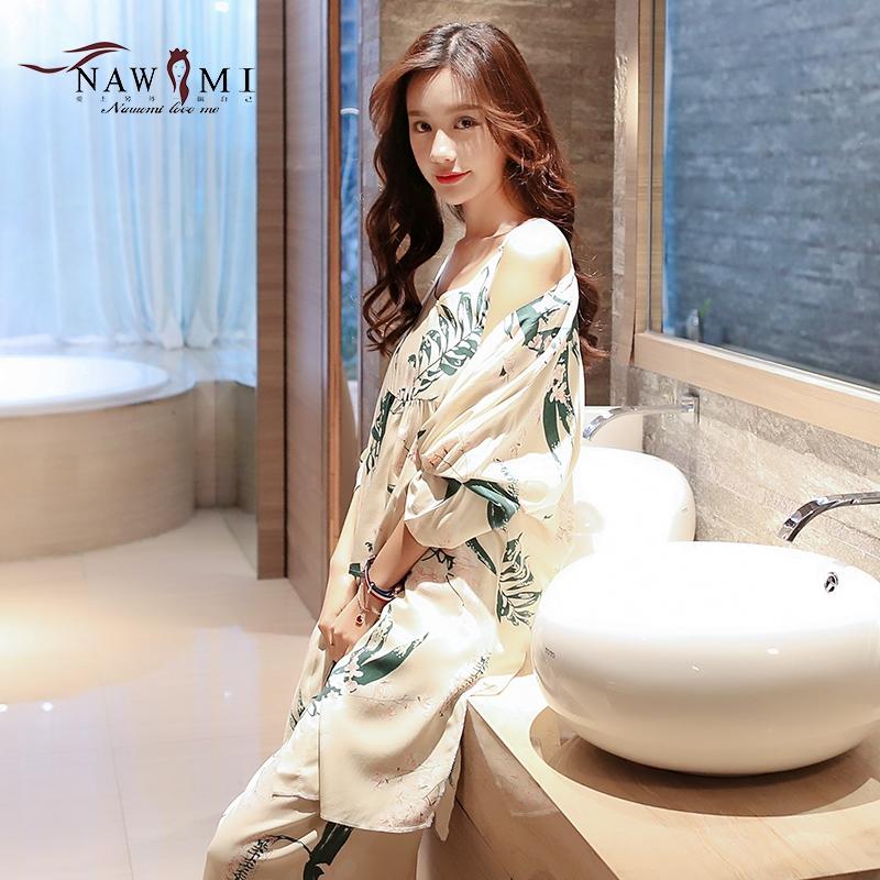 睡衣女士夏季薄款性感三件套装睡裙绵绸吊带日系春秋两件长袖睡袍