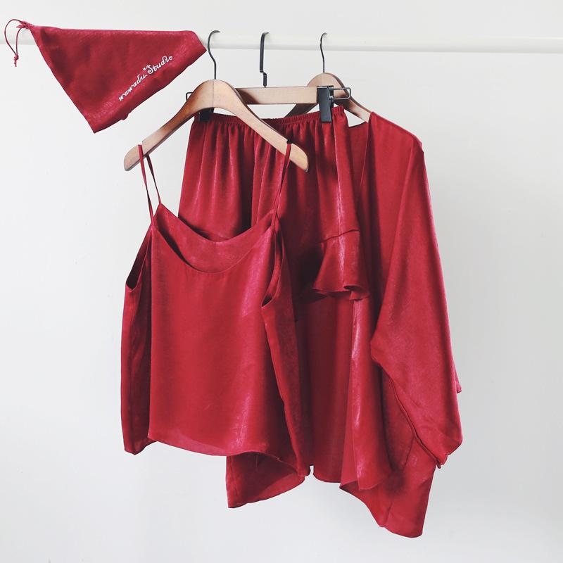 2018夏季睡衣三件套装女短款性感吊带衫家居服套装短款韩版薄款