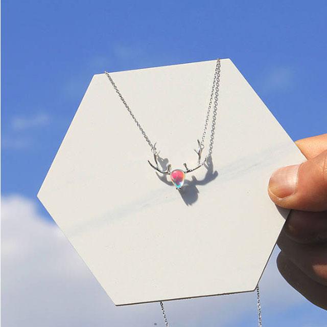 一鹿有你 月光石纯银项链 麋鹿角锁骨链
