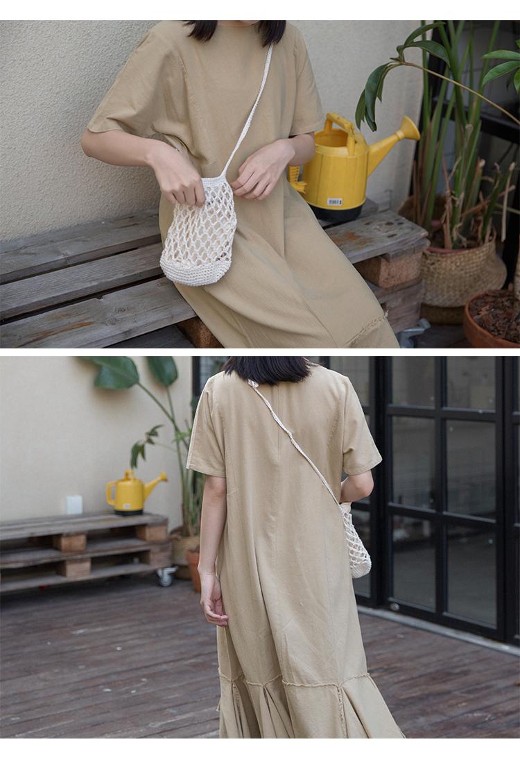 奶兔星球-自制 长款荷叶边鱼尾连衣裙直筒宽松少女chic复古短袖夏