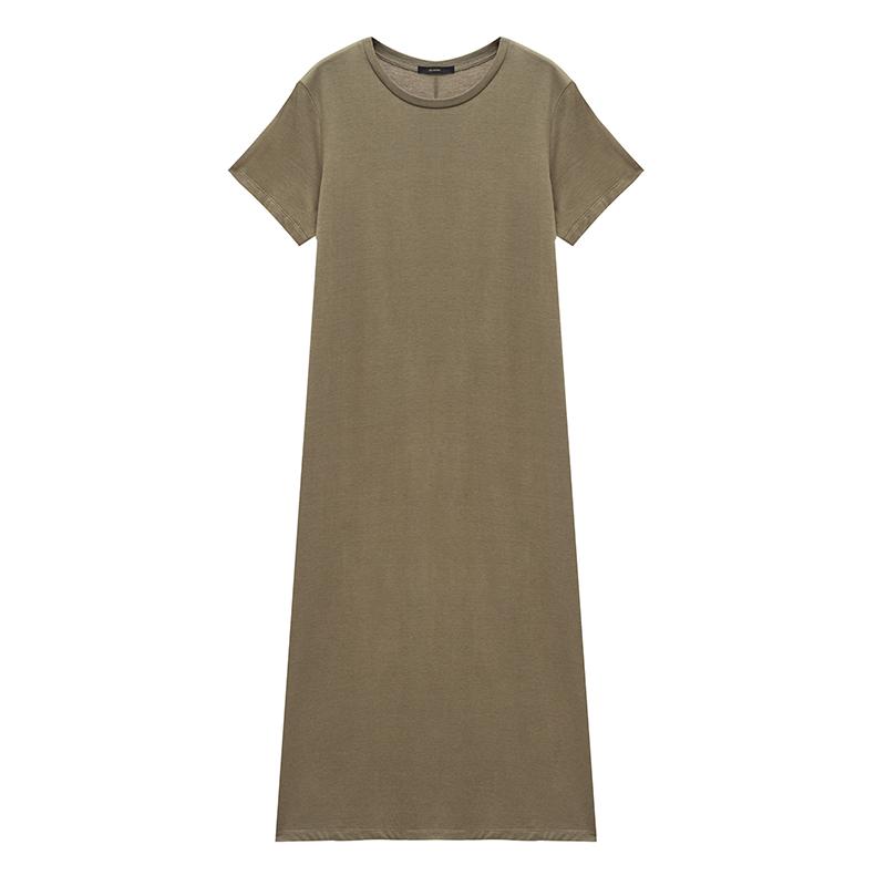 MALI/2018新款宽松显瘦套头短袖纯色长款T恤开叉连衣裙一步裙女夏