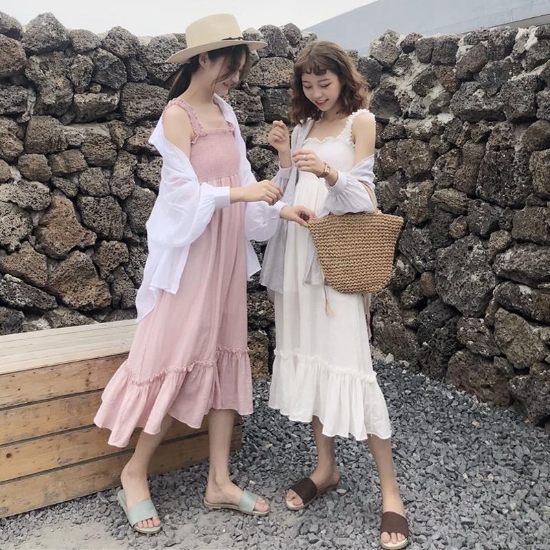 夏装女装韩版中长款宽松显瘦纯色气质吊带连衣裙长裙+防晒衫衬衣