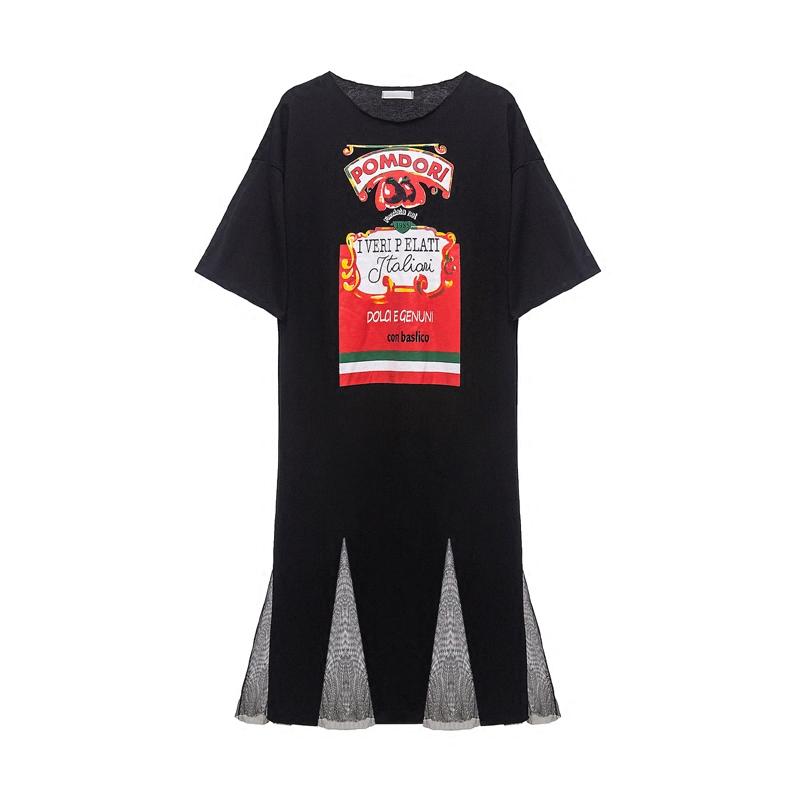 ins超火的t恤裙子春季2018新款显瘦学生港味复古冷淡风连衣裙女夏