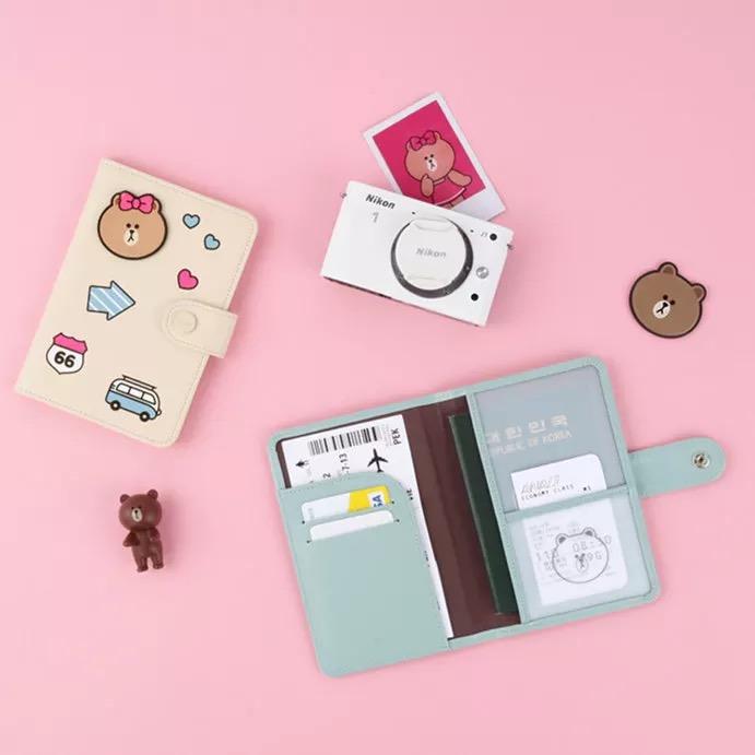 韩国新款布朗熊周边证件套 护照夹卡包 丘可卡通可爱女生手拿钱包