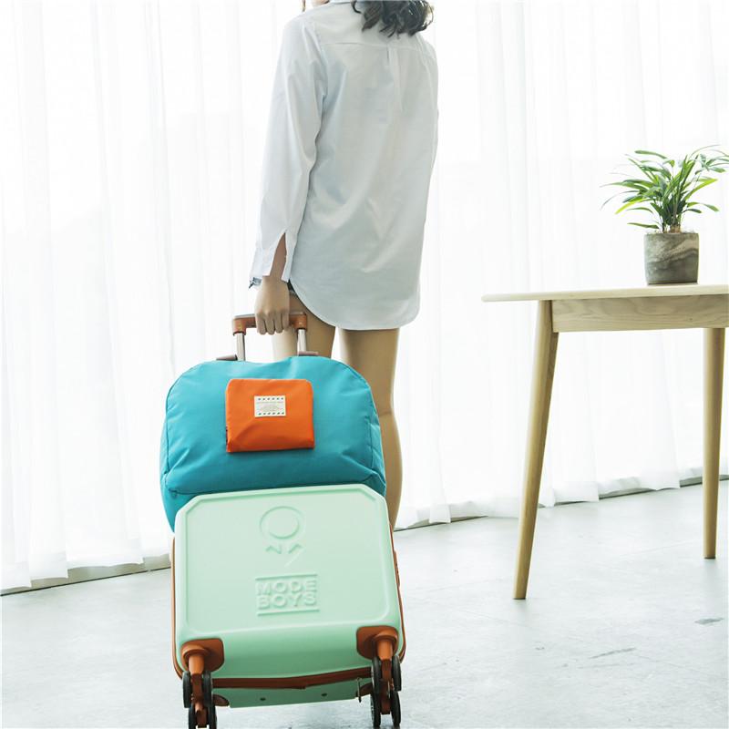 韩国旅行防水折叠单肩包户外大容量购物袋便携衣物收纳整理手提袋
