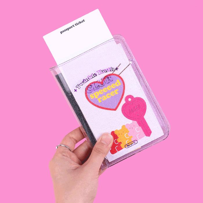 Be on D 韩国创意闪闪亮半透明护照夹时尚潮范短款便携旅行护照套