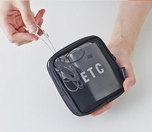 旅行化妆包透明网纱洗漱包数码零钱收纳袋便携小号韩国简约整理包