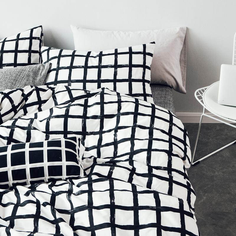 ins全棉四件套格子纯棉三4件套床单床笠被套北欧风简单抽象1.8米