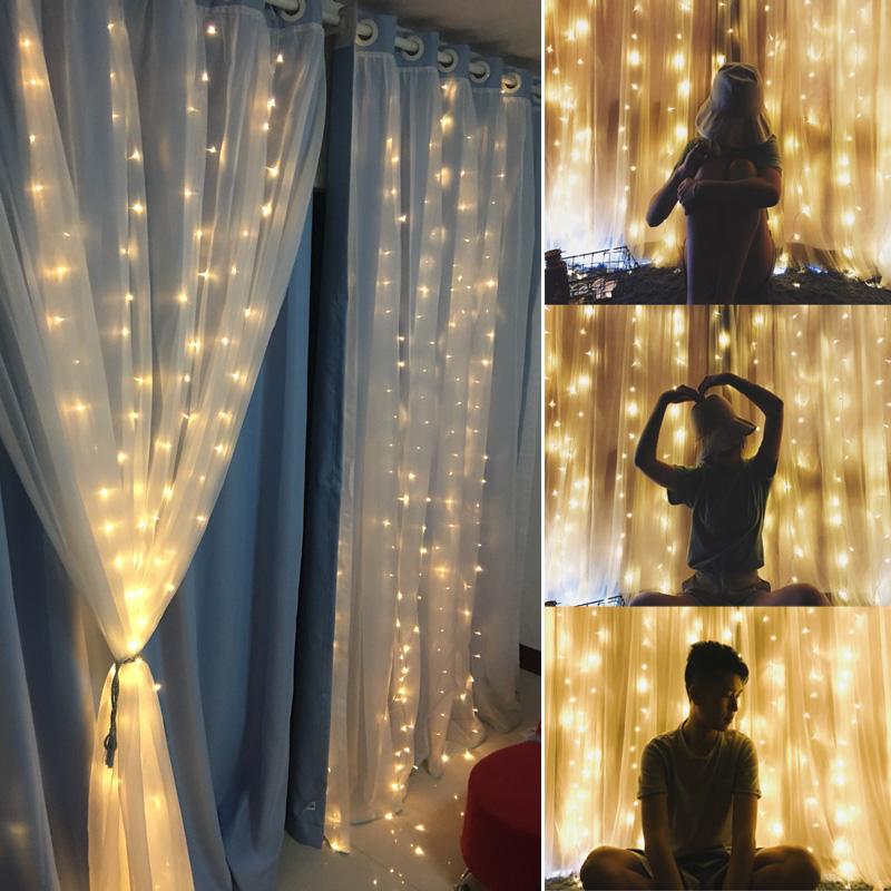 窗帘led星星彩灯串灯光网红少女软妹房间背景装饰ins浪漫卧室布置