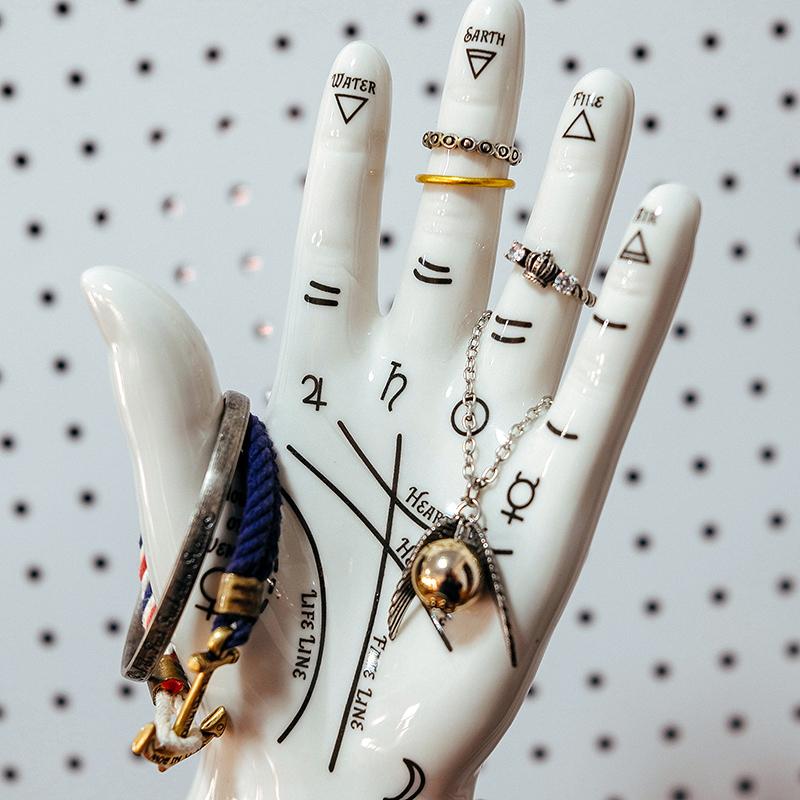 玩意生活 手相学首饰架 创意陶瓷手模装饰 复古北欧项链戒指收纳