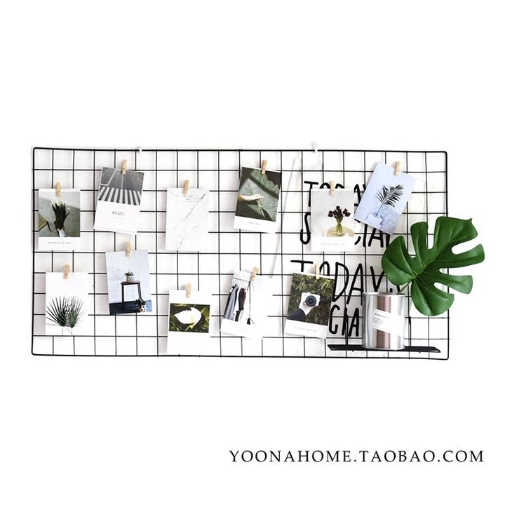 yoona home铁艺网格ins照片墙置物架背景装饰夹子北欧铁丝少女墙