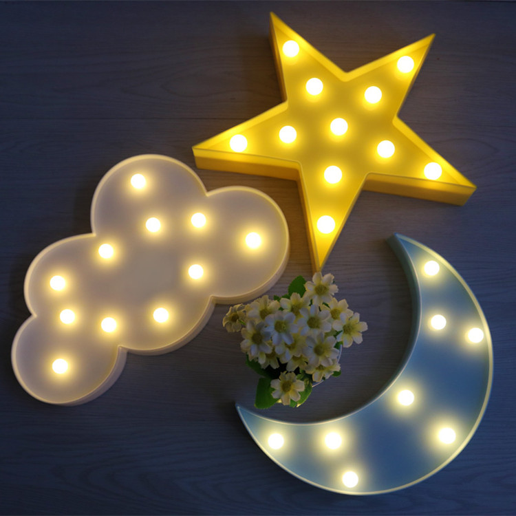 ins月亮星星云朵房间装饰造型灯led人体感应灯遥控小夜灯护眼台灯