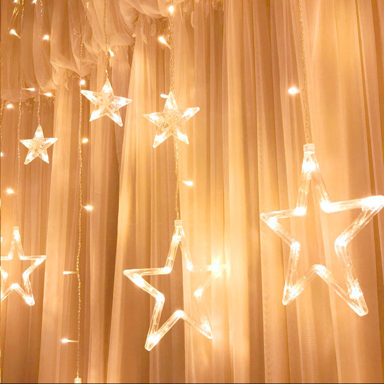 少女心ins星星彩灯闪灯串灯满天星窗帘卧室浪漫房间布置装饰网红