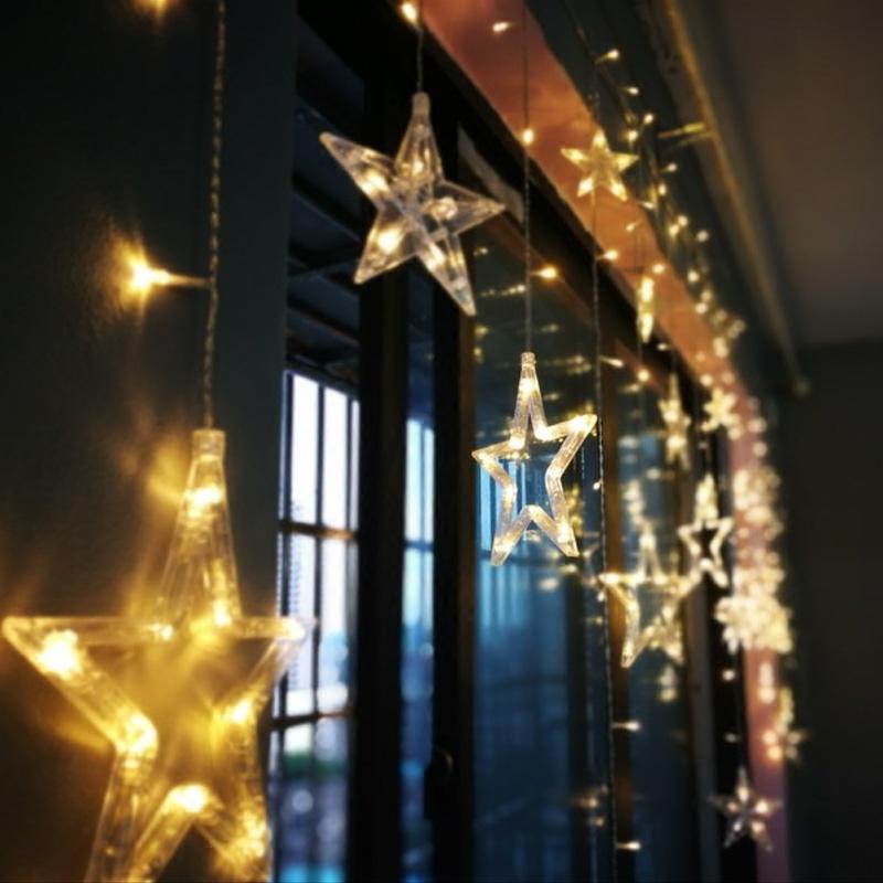 少女心星星彩灯闪灯串灯满天星窗帘卧室浪漫房间布置装饰网红灯