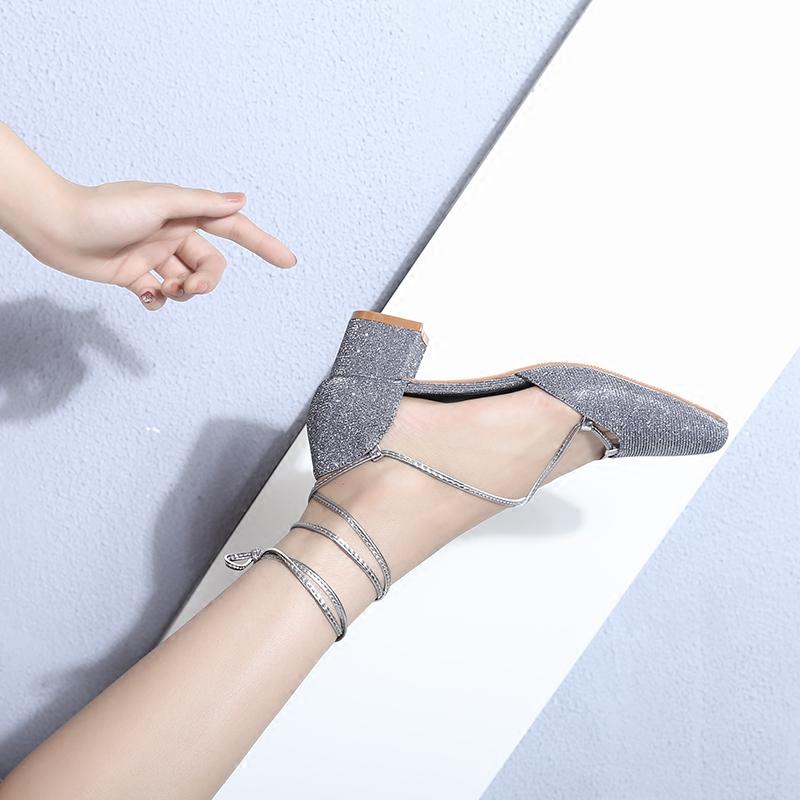 复古闪光玛丽珍鞋女粗跟方头中跟绑带中空单鞋包头凉鞋夏2018新款