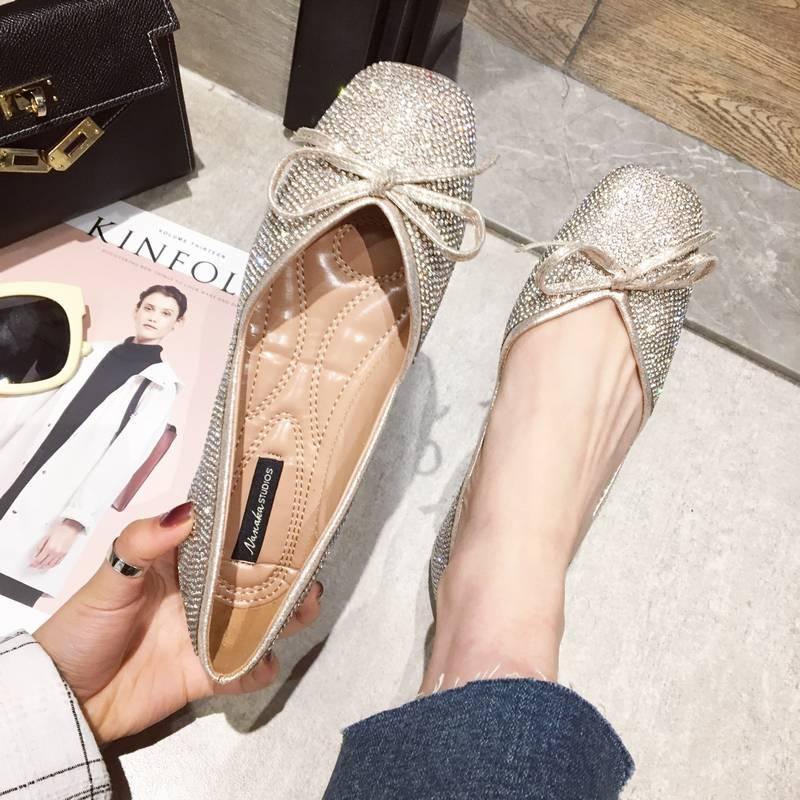 女鞋春季2018新款韩版百搭亮片方头平底单鞋浅口瓢鞋软底鞋水晶鞋