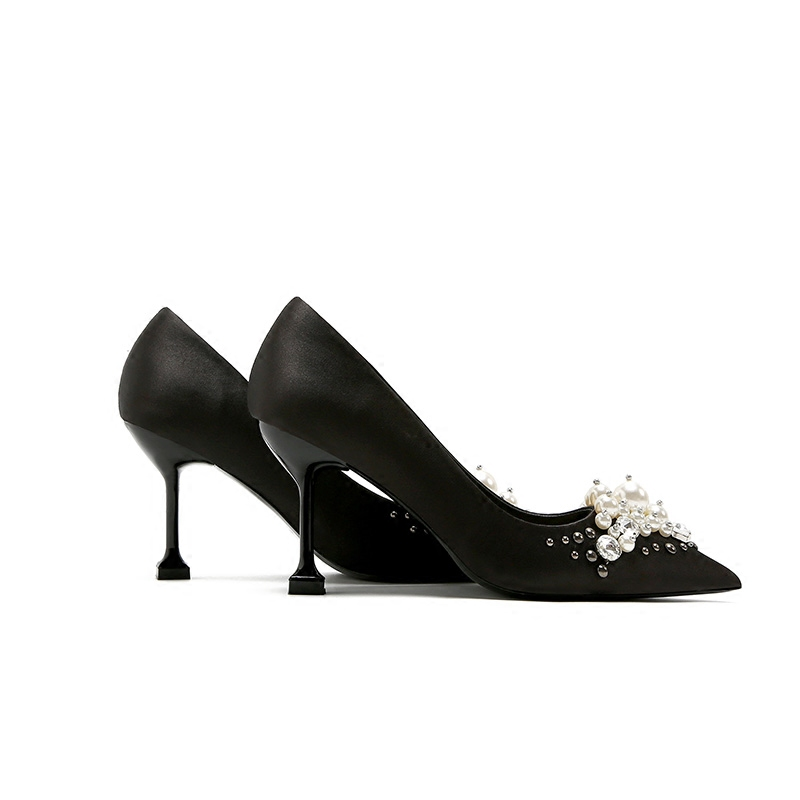 黑色高跟鞋2018春秋新款欧美绸缎水钻手工缝制珍珠细跟尖头鞋单鞋