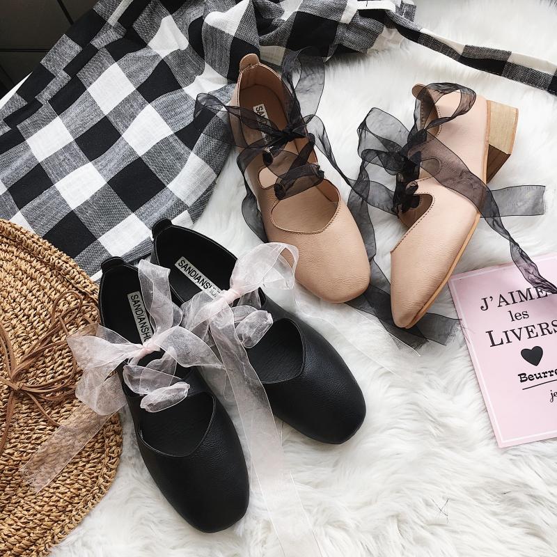 春新蝴蝶结绑丝带玛丽珍圆头粗跟低中跟休闲女鞋浅口 单鞋 舞蹈鞋